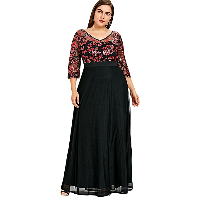 4d7023b84a0 Fashion Plus Size Sequined Floral Maxi Prom Dress - RED   Best Price ...