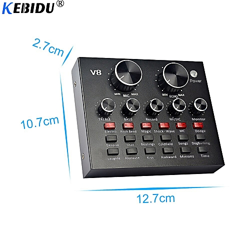 V8 Audio External USB Headset Microphone K song Live Broadcast Sound Card  for Mobile Phone Computer PC