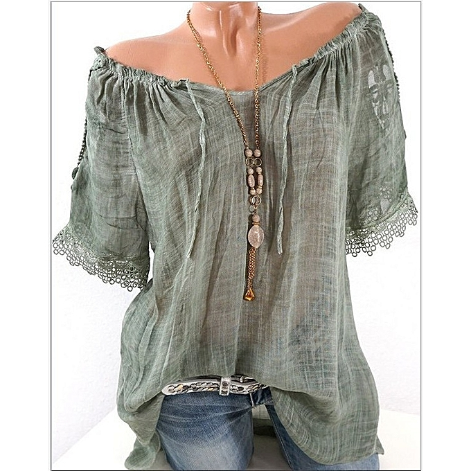 c6f1a059cef59 New women s sexy stitching word collar off-shoulder shirt chiffon shirt- green