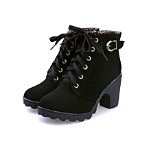Black Women High Top Heel Suede Lace Up Buckle Ankle Boots