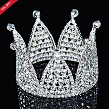 Luxury Crystal Rhinestone Pageant Princess Crown Headpiece Wedding Bridal Tiara Silver