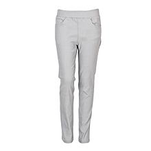 Girls Light Grey Fitting Cotton Stretch Pants