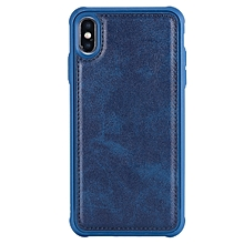 Magnetic Shockproof TPU + PC + PU Leather Pasted Case for iPhone XS Max (Blue)