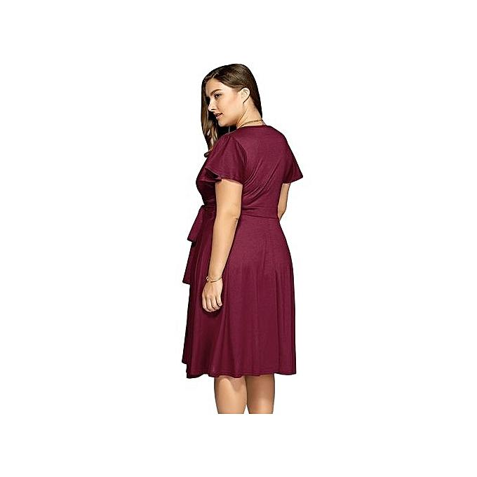d9431122cf Fashion Women Surplice Front Tie Swing Dress - Wine Red   Best Price ...
