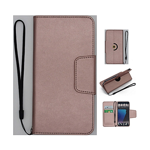 Fashion Case Universal Rotating Ultra Slim Durable PU Leather Wallet Case  Cover for Tecno W1 4 0 inch (RoseGold)