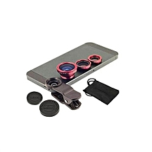 JQAIQ Newest 3 In 1HD Wide Angle Universal Clip Camera Mobile Phone Len FishEye Macro For Iphone 4 5 6s Plus 7 8 X Red