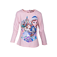 74e6e4e3a82 Disney  039 s Frozen Sofia the First Cartoon Themed T-shirt - Peach
