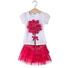 Girls Suit Applique T-Shirt Short Skirt - Rose