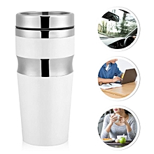 Travel Mug With Lid Water Coffee Tea Cup Bottle Gift Fashion Stainless Steel(430ML White)