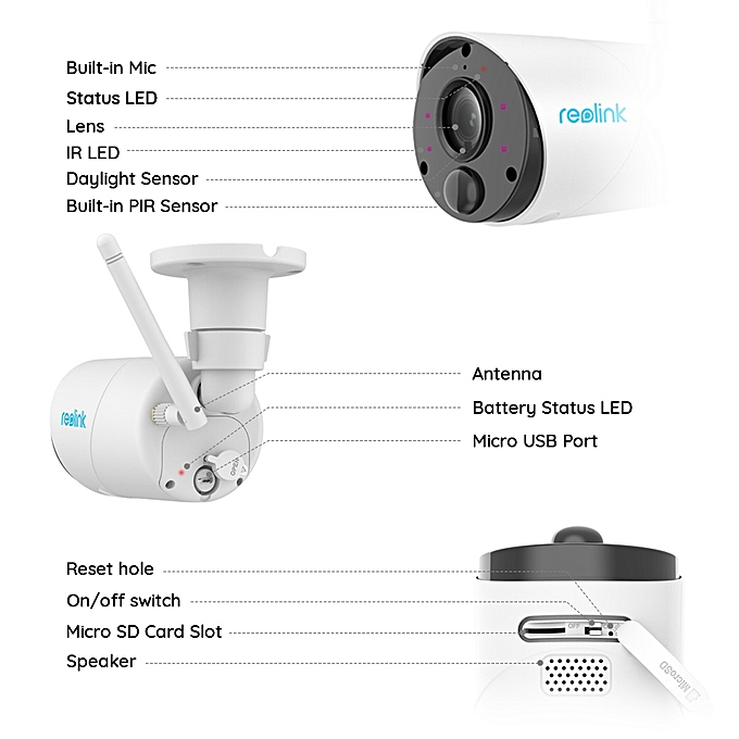Argus Eco IP Camera Outdoor Wireless Security Cam Full HD 1080p  Rechargeable Battery Powered Surveillance with PIR(Cam x 1)