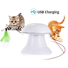 Cat Laser Toy, 2 In 1 Automatic Non-Handheld Cat Chaser Toy And Interactive Feather Toy, Auto Rotating Light Cat Chaser Toy For Cats And Dogs