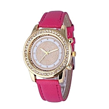 Fohting Women's Geneva Fashion Leather Analog Stainless Steel Quartz Wrist Watch HOT -Hot Pink