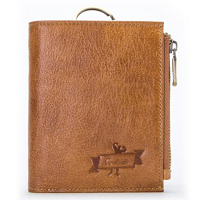 New top layer leather tri-fold RFID men's wallet leather detachable coin  purse-brown