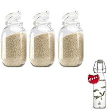 3-Piece 3000ml Airtight Retro Glass Jar with Clip Lid (Clear Glass): Kitchen Preserving Storage Jars + FREE 250ml Water Jar