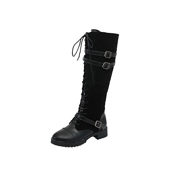 12a99ad20be Jiahsyc Store Women Ladies Shoes Flock Roman Riding Knee High Cowboy Boots  Martin Long Boots-Black