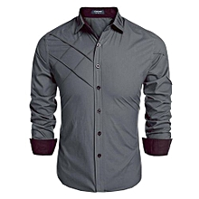 COOFANDY Men Long Sleeve Turn Down Neck Pure Color Loose Tops Casual Loose Cotton Button Down Shirts ( Green )