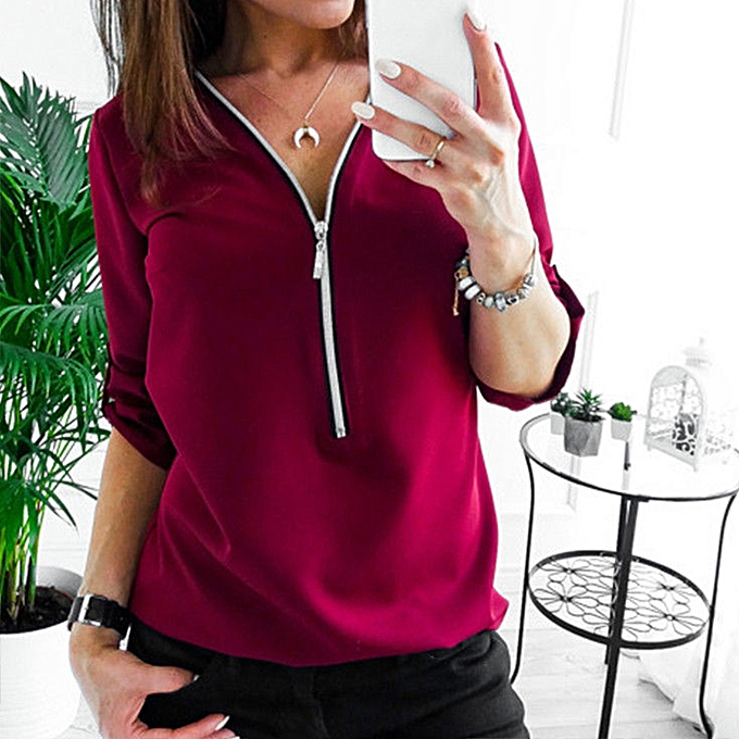 6a0d645d1c0f Fashion Womens Plain V Neck Chiffon Tops Ladies Zip Blouse OL T ...