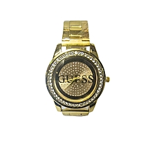Ladies Golden Metallic Wrist Watch