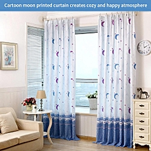 Country Style Moon Printed Window Curtain Half Transparent Bedroom Decoration(Hooks Included)
