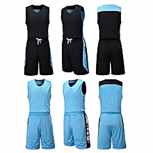 Double Side Customized Brand Men's Basketball Team Casual Sport Jersey Set-Light Blue(XY6021)