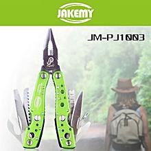 JM-PJ1003 9 In 1 Multifunctional Folding Tool Water Resistant Maintenance Tools 145MM_GREEN
