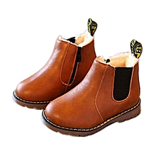 Kids Boys Girls Winter Snow Warm Ankle Boots Zipper Child Chelsea Shoes -As Shown