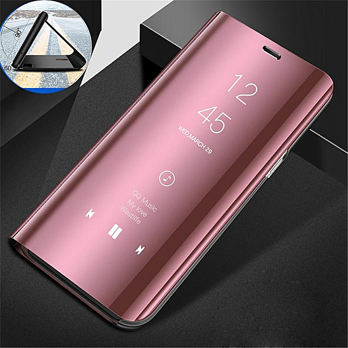 pretty nice 5ad30 a251b Clear View Mirror Case For Samsung Galaxy S6 Leather Flip Stand Case Mobile  Accessories Phone Cases Cover (Rose Gold)