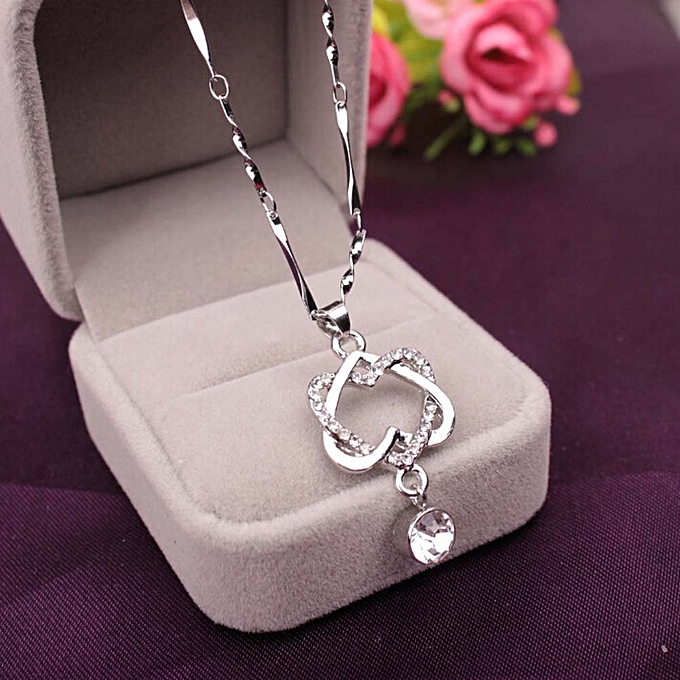 1 Pcs New Fashion Luxury Silver Rose Gold Plated Classic Double Heart Crystal Pendant Necklace