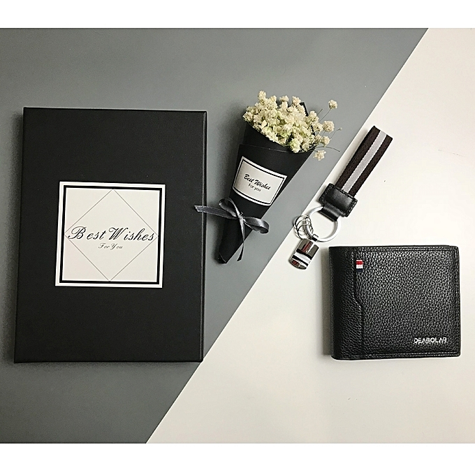 Mens Black WalletNew Creative Birthday Gift For Boyfriend Husband Male