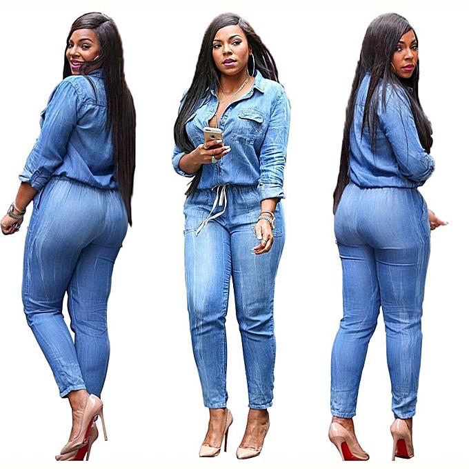 7822640b6a Fashion Women Long Sleeve Denim Jumpsuit Plus Size Large Loose ...