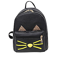 singedanLovely Cat Backpacks Women School Teenage Girls Travel Laptop Bagpack BK -Black
