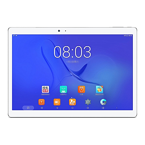 """T10 10.1"""" Android 7.0 Tablet PC MediaTek MT8176 Hexa Core 4GB RAM 64GB Touch ID GPS Dual Camera Dual Band Wifi - Silver/White"""