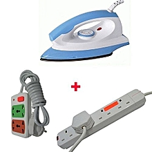 5508 - Iron Box With Free Small cable and Red lable 4-way Extension Cable - Blue