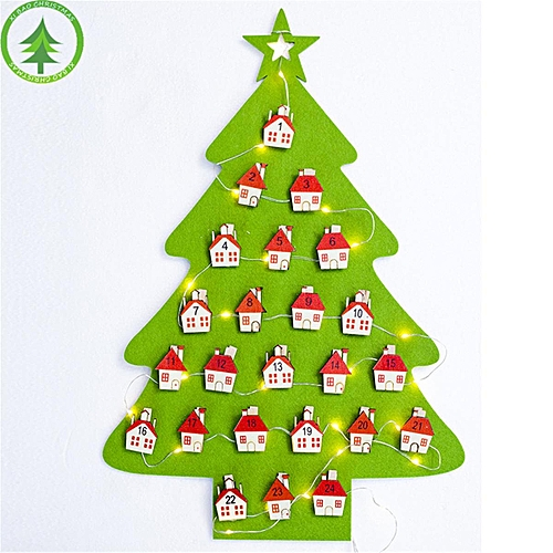christmas decorations santa claus calendar tree clips pendant hanging decor green red