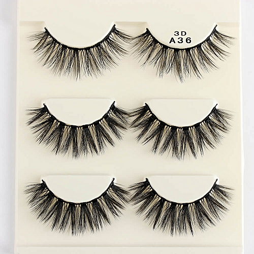 d60d8d8b970 Generic 3 Pairs 3D Charming 100% Real Mink Hair Thick/Wi/Cross/Wing False  Eyelashes Natural Long Beauty Makeup Extension Tools(A36 faux mink hair)