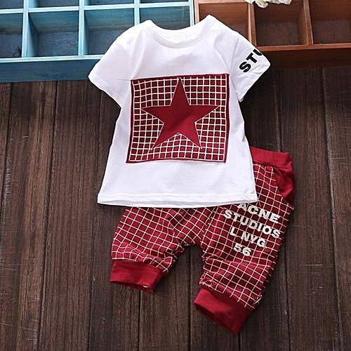 f479601699b Generic Hot Sale Baby Boy s Clothes Summer Sets T-shirt+pants- Red  (0-2Years)