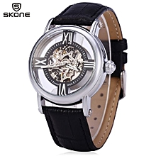Women Hollow Mechanical Watch With Genuine Leather Strap-BLACK