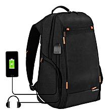 Outdoor Multi-function Comfortable Breathable Casual Backpack Laptop Bag With Handle, External USB Charging Port & Earphone Port(Black)