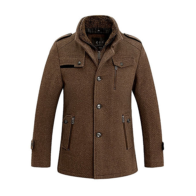 Fashion Stand Collar Woolen Overcoat Winter Trench Coat For Men