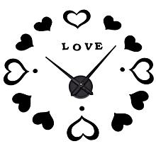 M.Sparkling Heart Shape Sticker DIY Digital Wall Clock BLACK