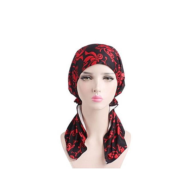 Zetenis Women India Muslim Elastic Turban Print Long Tail Hat Head Scarf  Wrap-Multicolor 4f496bc5cdc