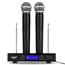 WEISRE VHF Professional Wireless Microphone System Dual Channel Handhold Dynamic Cardioid Microphones for Karaoke Party Conference Wedding BLACK EU PLUG