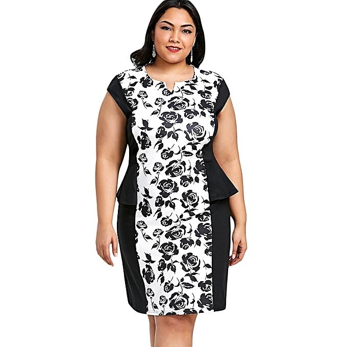 06f8e7dd0b Fashion Plus Size Side Peplum Insert Floral Print Dress - BLACK ...