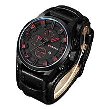 Watches, 8225 Men's Fashion Sport Quartz Watch Luxury Quartz Leather Strap Clock - Black