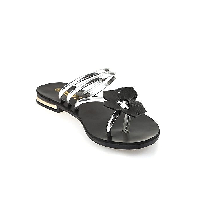 1b5576046e759 Generic Ladies Sweet Floral Embellishment Beach Sandals-SILVER ...