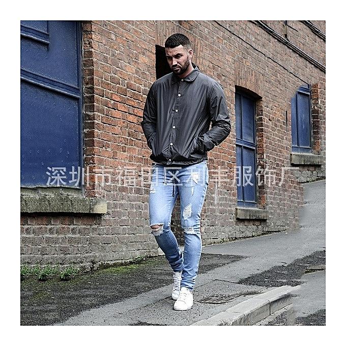 b4ee634f946 ... GraceMen s Hole-pierced Men Jeans Runway Slim Jeans Fashion Hiphop  Skinny Jeans For Men ...