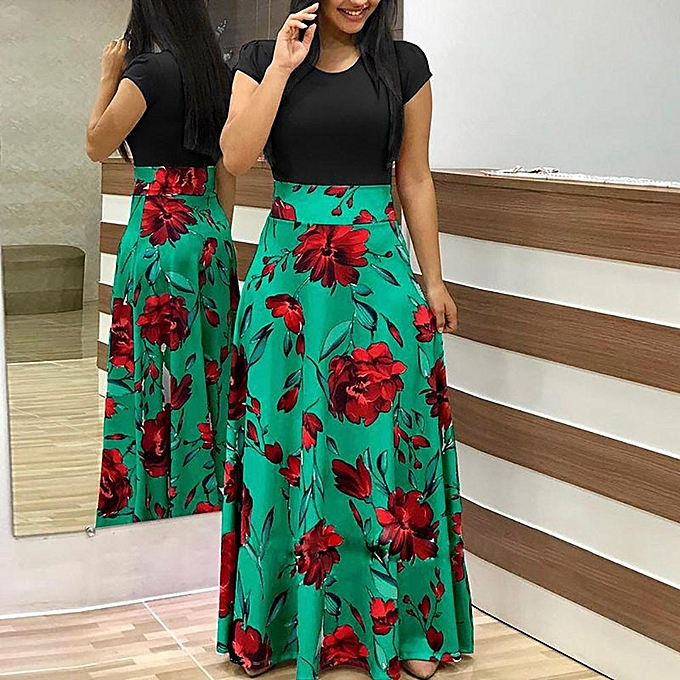 43aace15404 jiuhap store Womens Fashion Casual Floral Printed Maxi Dress Short Sleeve  Party Long Dress-Green
