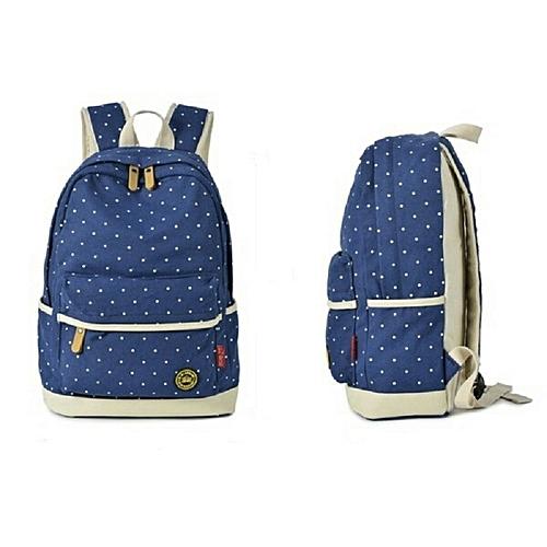 Generic High Quality Fashion modern school Backpacks- waterproof canvas bags  for teenagers- Polka dots Blue b50eeb7c7e163