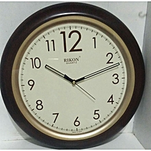 Wall clock - Round shaped,  brown plastic frame