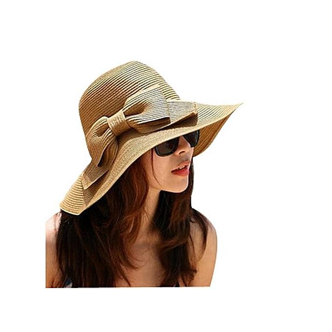 Bohemian Fashion Summer Sun Floppy Hat Straw Beach Wide Large Brim Cap fa306d78d9df
